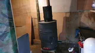 #Fitting  home made wood burner stove in shelter