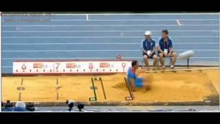 Меньков устанавливает рекорд России по прыжкам в длину на ЧМ 2013 в Москве
