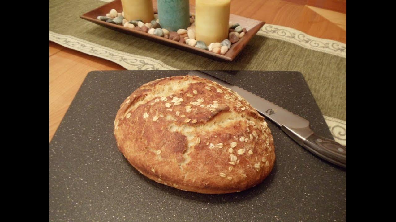 No Knead Honey Oatmeal Bread Easy No Mixer No Yeast Proofing Youtube