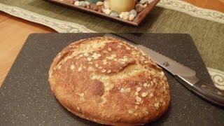 No-knead Honey Oatmeal Bread (easy... No Mixer... No Yeast Proofing)