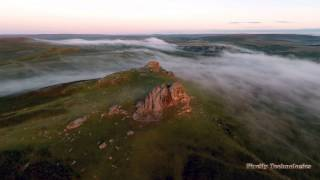 Hyperlapse Aerial Photography over Haytor in mist