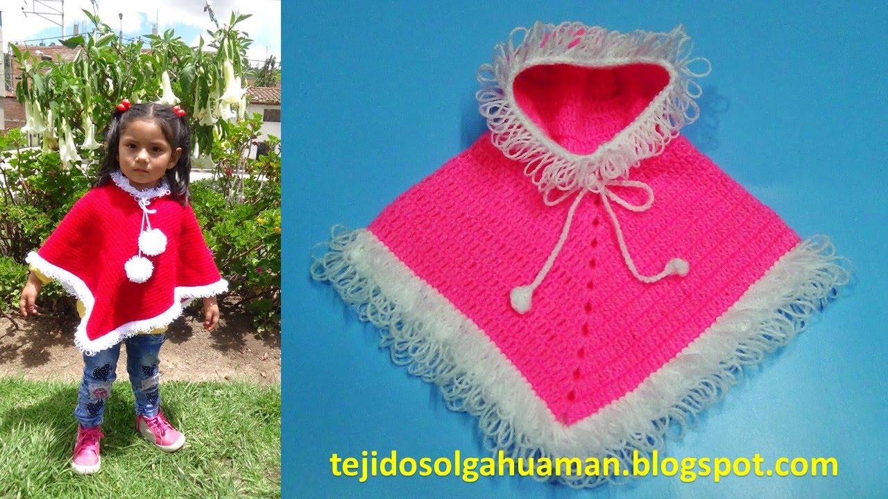 poncho tejido a crochet para navidad o para el invierno con puntos ...