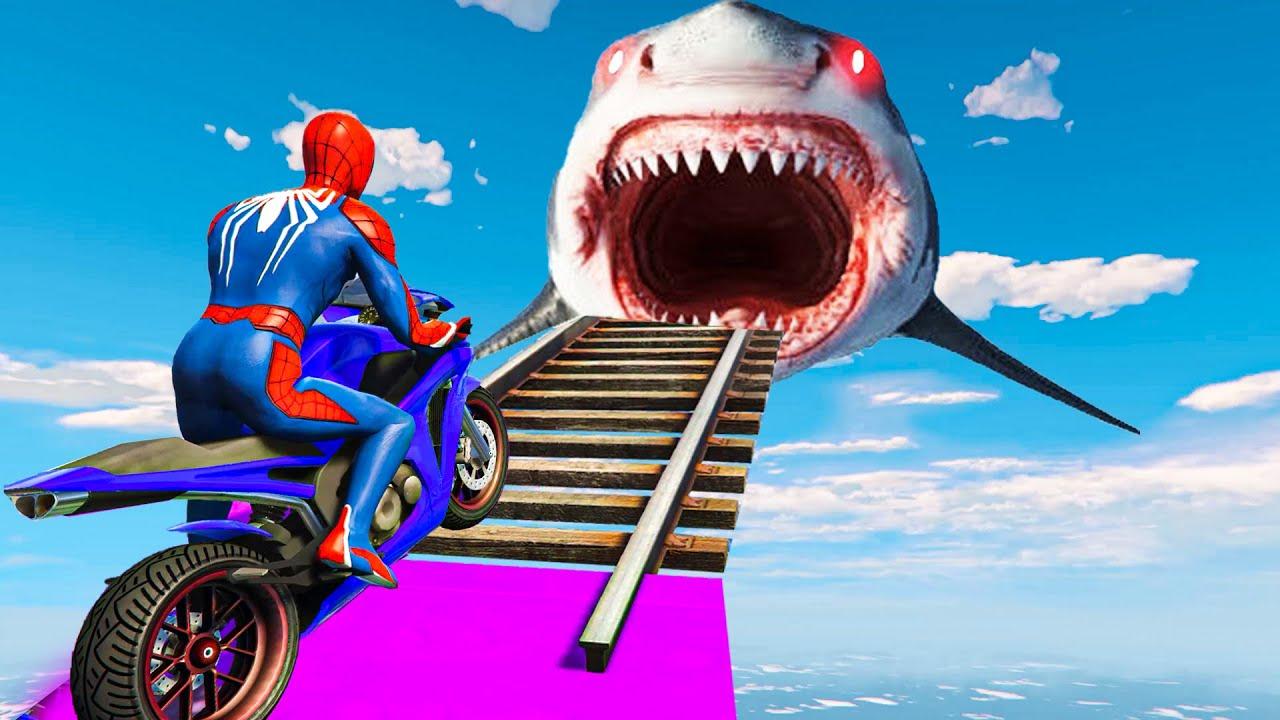 Spider-man ki Khatarnak Stunt Race aur Megalodon Shark - Spiderman Shark Parkour Challenge