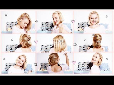 ♥ ♥ 9 Short Hair Styles ♥ ♥(простые прически в школу)(на КОРОТКИЕ волосы)