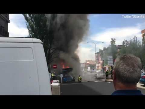 Overheated engine caused EMT Bus to burst into flames in Madrid