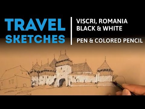 Drawing Medieval Architecture with Pen and Watercolor Pencil