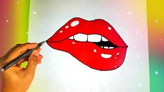 как нарисовать красивые ГУБЫ? Лёгкие рисунки для начинающих Рисунки для срисовки