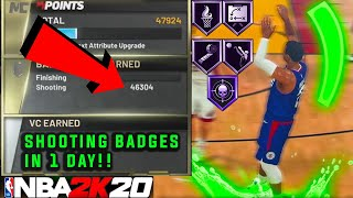 THE *NEW* FASTEST SHOOTING BADGE METHOD IN NBA 2K20! HOW TO GET YOUR SHOOTING BADGES IN UNDER 1 DAY!