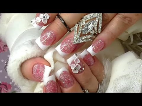 SHORT GLITTER PINK AND WHITE ACRYLIC FRENCH MANICURE FROM START TO FINISH | ABSOLUTE NAILS