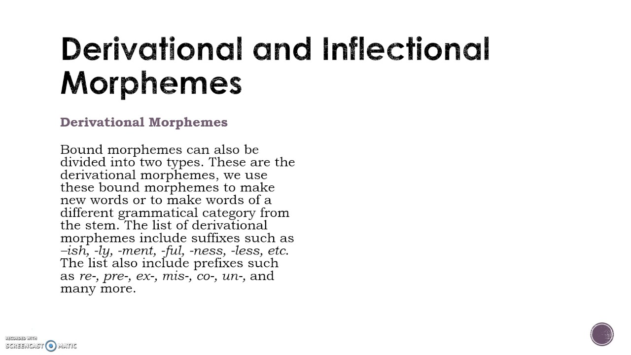 different types of morphemes