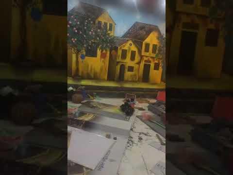 Vẽ tranh tường 3D phố cổ Hội An cho quán cafe, trà chanh tại Long Biên, Hà Nội – Wall painting T–Art