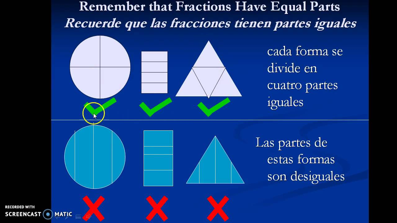 Understanding Basic Fractions For Spanish Speaking Students