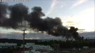 [Traffic Cam & Scanner] Large barge fire in south Seattle