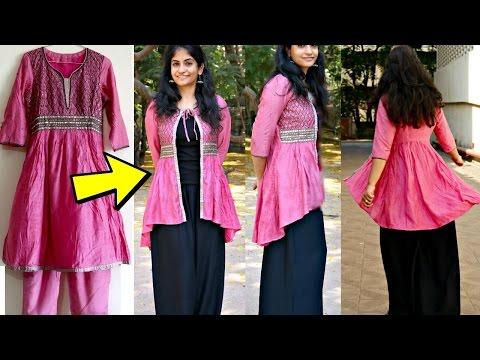 Convert Anarkali Kurti to High-Low Ethnic Jacket | Reuse old Anarakalis || Slick and Natty