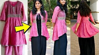 Convert Anarkali Kurti to High-Low Ethnic Jacket | Reuse old Anarakalis