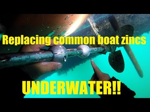 How to replace common boat zincs underwater - Hull cleaning underwater - SCUBA Diving