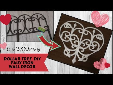 DIY Dollar Tree Farmhouse Faux Iron Wall Decor | Valentine's Decor
