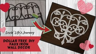DIY Dollar Tree Farmhouse Faux Iron Wall Decor | Valentine's Decor