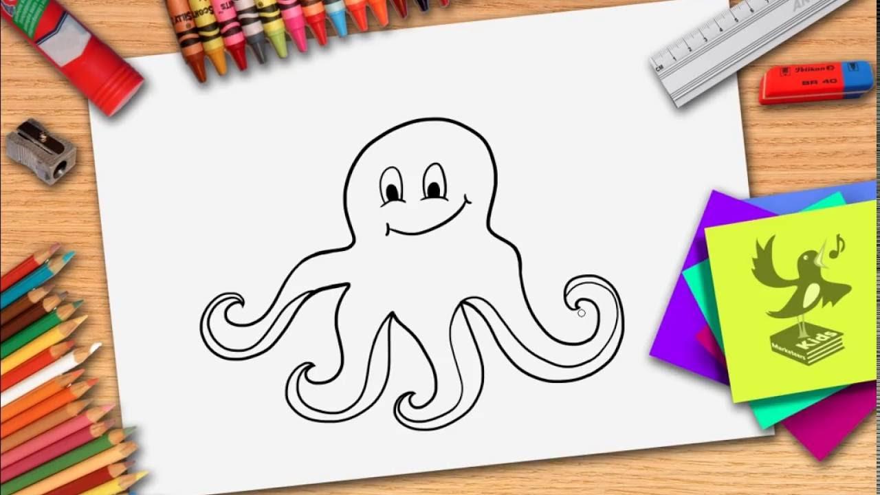Wie zeichnet man eine Krake - Kraken zeichnen lernen - YouTube