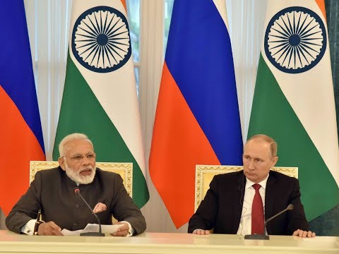 PM Modi at Exchange of Agreements and Press Statements with President of the Russia Vladimir Putin