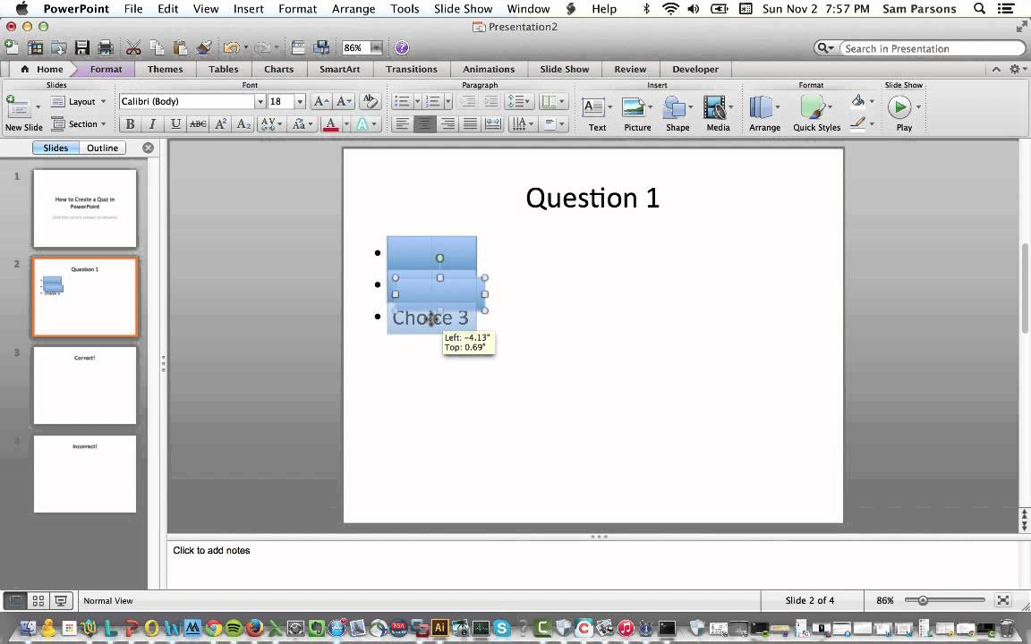 How to Create an Interactive Quiz in PowerPoint (Mac, Office 2011)