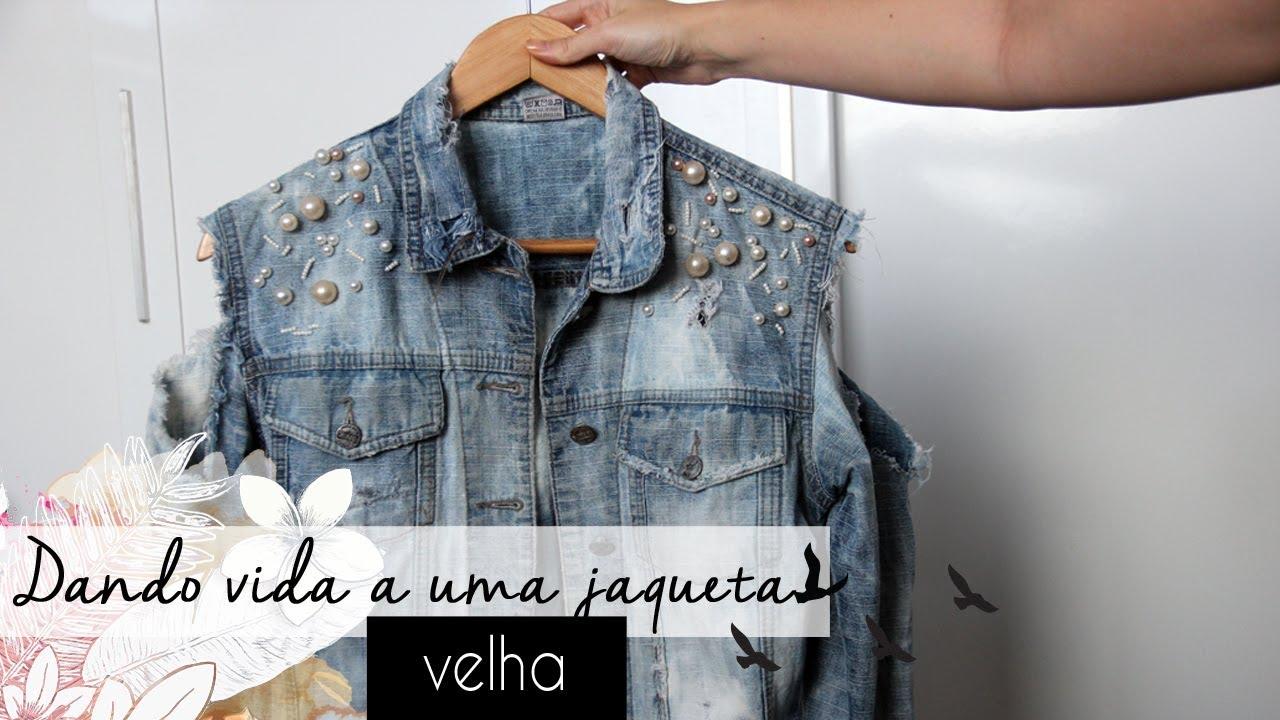 6bde4429df DIY  como customizar jaqueta jeans destroyed com pérolas - YouTube
