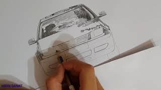 30) VW Bora Karakalem Çizimi (7)