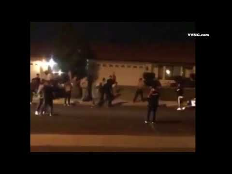 fight in street at halloween house party in Victorville