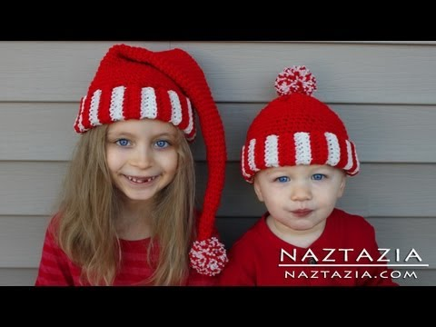 Learn How to Crochet Easy Santa Hat Elf Pixie Beanie for Kids ... eef16444050a