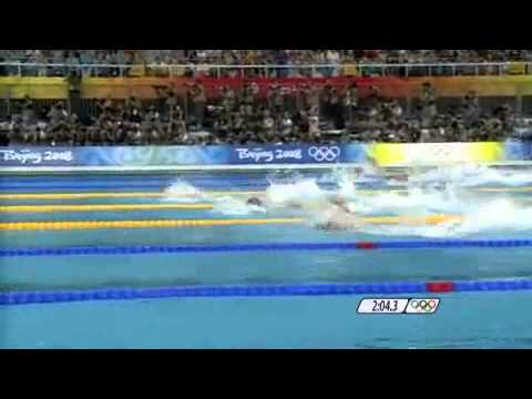 Michael Phelps 2nd Gold 2008 Beijing Olympics Men's 4 x 100m Freestyle Relay - UK Call