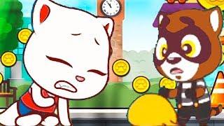 КОТ ТОМ БЕГ ЗА СЛАДОСТЯМИ #3 мультик игра для детей ГОВОРЯЩИЙ ТОМ и АНЖЕЛА друзья Видео для малышей