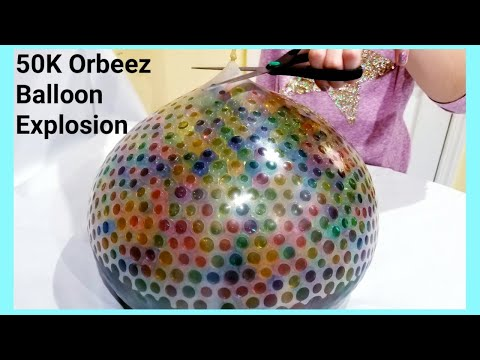 40K and 10K  Orbeez Balloon Explosion Experiment   ASMR   Kids Experiments   science