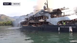 Super Yachts Barbie and The One totally Burnt and in risk of sinking