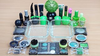 GREEN vs BLACK SLIME Mixing makeup and glitter into Clear Slime Satisfying Slime Videos