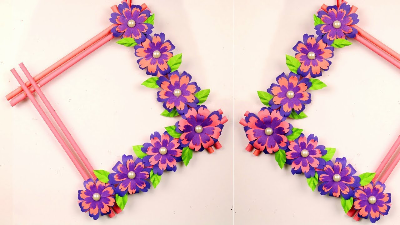 Diy Easy Paper Flowers Wall Hanging At Home Handmade Craft Ideas Room Decoration Youtube