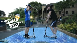 GAME OF SCOOT ON A SLIP 'N' SLIDE!! *EXTREME PAIN* (ELITE VS GRIT)