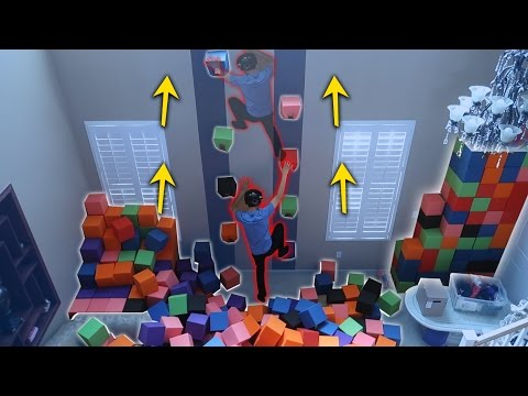 Thumbnail: INDOOR ROCK CLIMBING MADE OUT OF THE FOAM PIT!! (DANGEROUS)