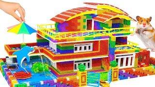 DIY - Build Modern Mansion Swimming Pool For Hamster From Magnetic Balls (Satisfying) - Magnet Balls