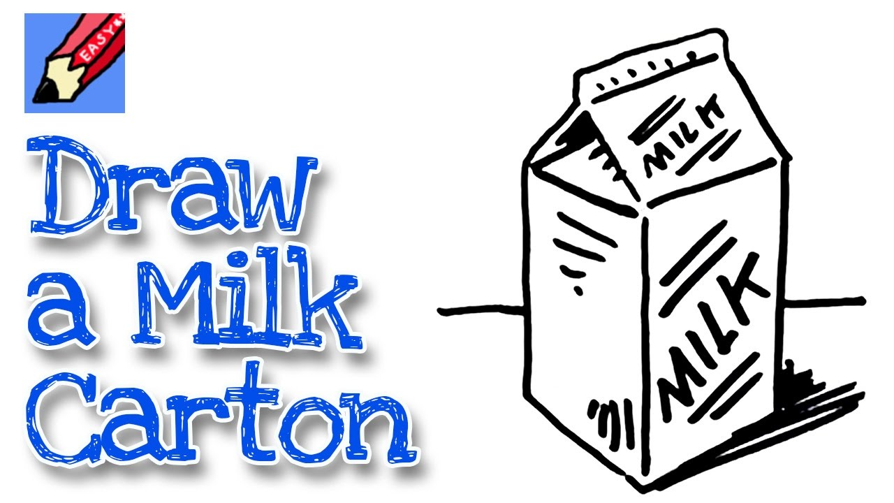 how to draw a milk carton real easy for kids and beginners youtube rh youtube com cute milk carton drawing open milk carton drawing