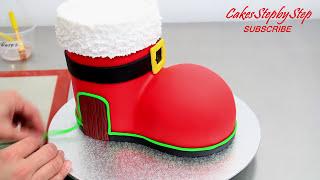 How To Make a SANTA BOOT HOUSE Cake | CHRISTMAS Cake Idea