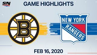 NHL Highlights | Bruins vs Rangers - Feb. 16, 2020