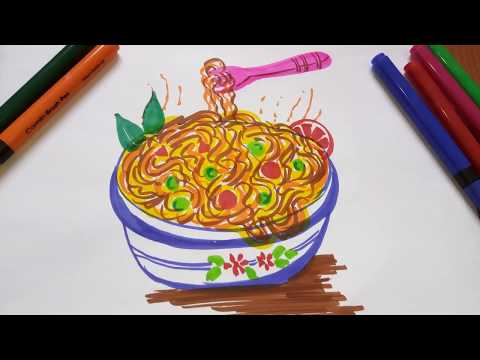 How To Draw Spaghetti | Noodles Drawing And Painting For Kids, #Welovemay