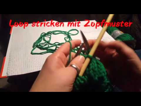 Loop stricken mit Zopfmuster - YouTube