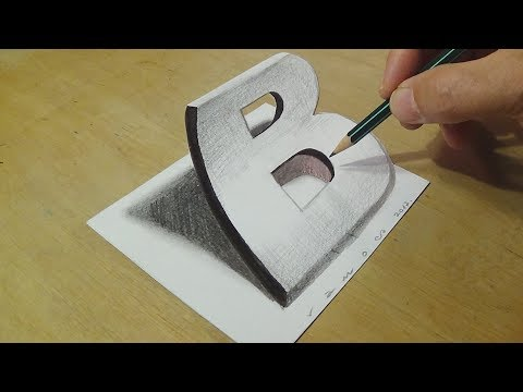 Drawing 3D Letter B - Trick Art on Paper with Graphite Pencils - Illusion for Kids & Adults