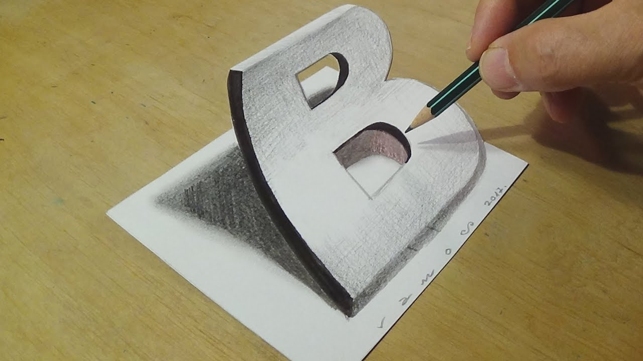 Drawing 3d Letter B Trick Art On Paper With Graphite