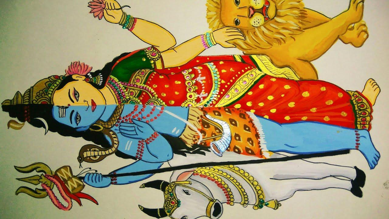 Painting Of Half Lord Shiv And Half Goddess Parvati Milan Youtube