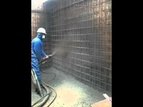 On Site Footage Of Sprayed Concrete Basement Wall Spraying