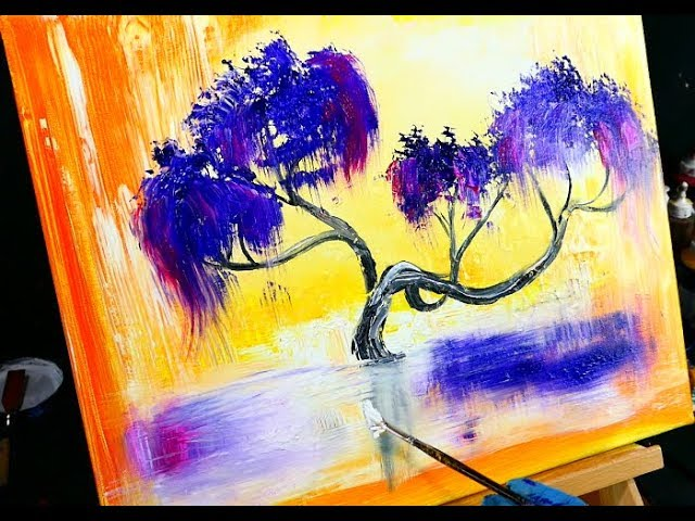 Weeping Willow Tree Painting On Bright Abstract Background Wood Grain Tool Fan Brush Round Brush