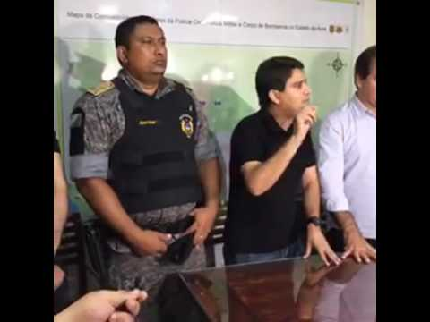 Sebastião Viana e cúpula da segurança em coletiva sobre invasão a Paudinha