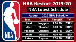 Nba Latest Schedule (july 30   August 07, 2020) | Nba Restart 2020
